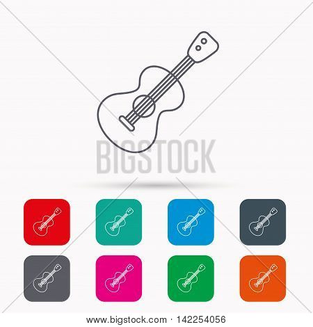 Guitar icon. Musical instrument sign. Band guitarist symbol. Linear icons in squares on white background. Flat web symbols. Vector