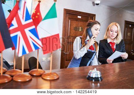 Hotel reception frontdesk workers