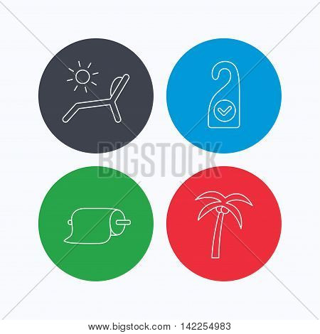 Palm tree, paper towel and beach deck chair icons. Clean room linear signs. Linear icons on colored buttons. Flat web symbols. Vector