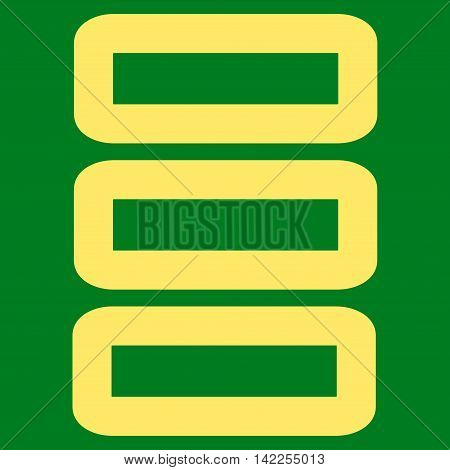 Database vector icon. Style is stroke flat icon symbol, yellow color, green background.