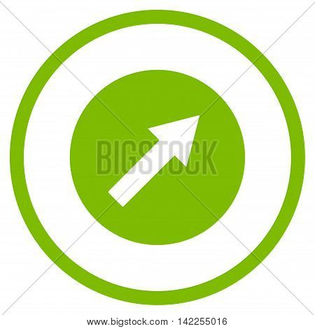 Up-Right Rounded Arrow vector icon. Style is flat rounded iconic symbol, up-right rounded arrow icon is drawn with eco green color on a white background.