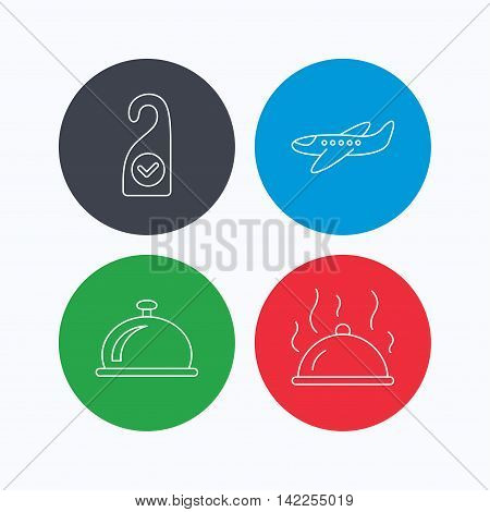 Hot food, reception bell and clean room icons. Airplane linear sign. Linear icons on colored buttons. Flat web symbols. Vector