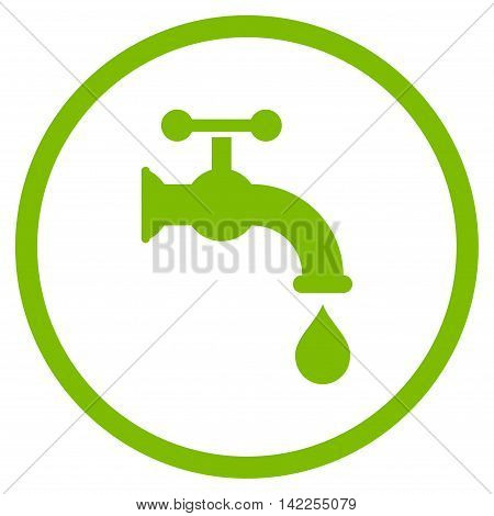 Water Tap vector icon. Style is flat rounded iconic symbol, water tap icon is drawn with eco green color on a white background.