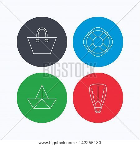 Paper boat, flippers and lifebuoy icons. Women handbag linear sign. Linear icons on colored buttons. Flat web symbols. Vector