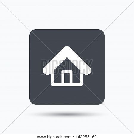 Home icon. House building symbol. Real estate construction. Gray square button with flat web icon. Vector