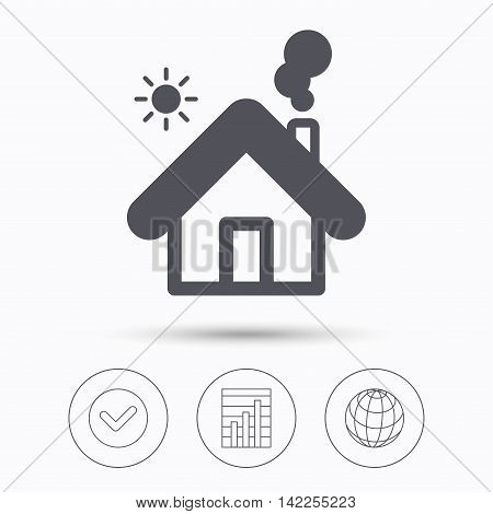 Home icon. House building symbol. Real estate construction. Check tick, graph chart and internet globe. Linear icons on white background. Vector