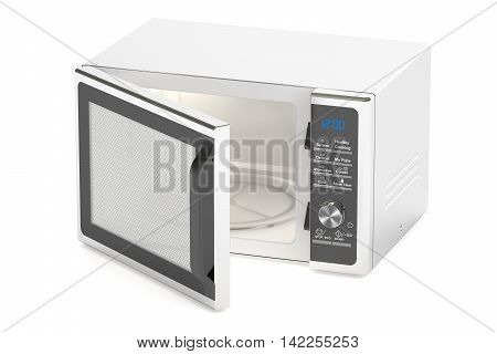 silver microwave oven 3D rendering isolated on white background