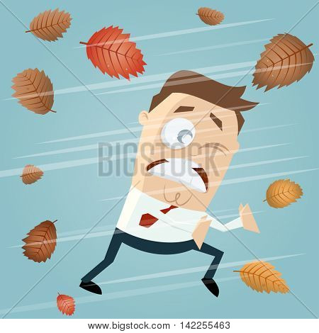 businessman in autumn storm clipart