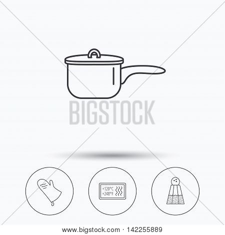 Saucepan, potholder and salt icons. Heat-resistant linear sign. Linear icons in circle buttons. Flat web symbols. Vector