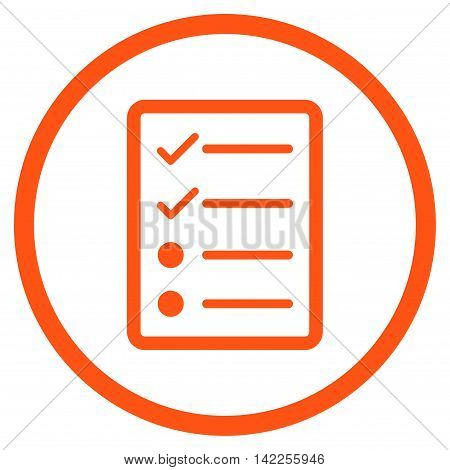 Checklist Page vector icon. Style is flat rounded iconic symbol, checklist page icon is drawn with orange color on a white background.