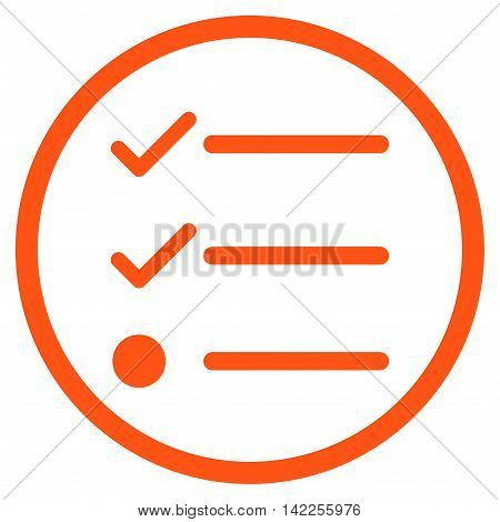Checklist vector icon. Style is flat rounded iconic symbol, checklist icon is drawn with orange color on a white background.