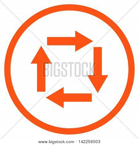 Circulation Arrows vector icon. Style is flat rounded iconic symbol, circulation arrows icon is drawn with orange color on a white background.