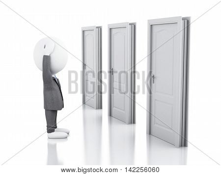 3d illustration. Business people and three doors doubtful. Choice concept on white background