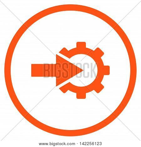 Cog Integration vector icon. Style is flat rounded iconic symbol, cog integration icon is drawn with orange color on a white background.