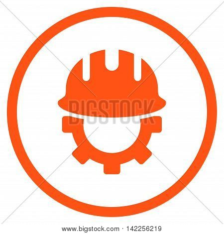 Development Hardhat vector icon. Style is flat rounded iconic symbol, development hardhat icon is drawn with orange color on a white background.