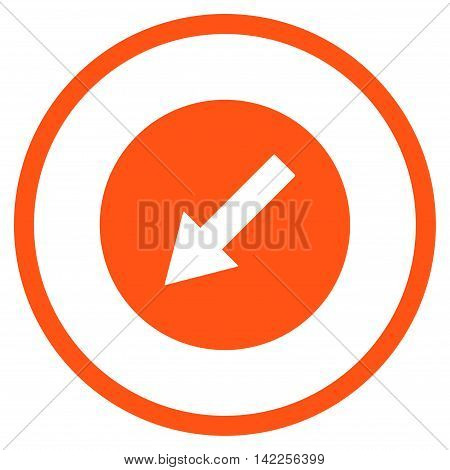 Down-Left Rounded Arrow vector icon. Style is flat rounded iconic symbol, down-left rounded arrow icon is drawn with orange color on a white background.