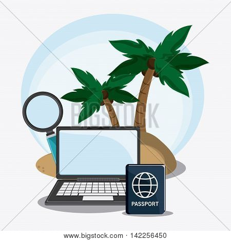 laptop palm tree lupe passport time to travel vacations trip icon. Colorfull illustration. Vector graphic