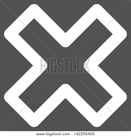 Delete X-Cross vector icon. Style is stroke flat icon symbol, white color, gray background.
