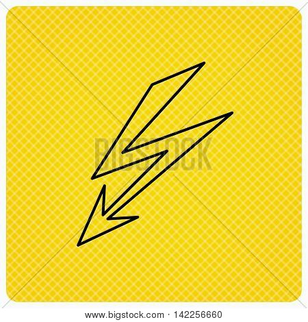 Lightening bolt icon. Power supply sign. Electricity symbol. Linear icon on orange background. Vector