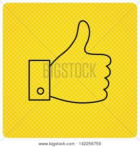 Thumb up like icon. Super cool vote sign. Social media symbol. Linear icon on orange background. Vector