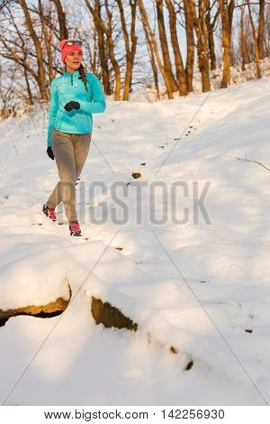 Woman Doing Winter Jog In Morning