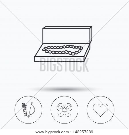 Love heart, jewelry and bow-knot icons. Valentine amour arrows linear sign. Linear icons in circle buttons. Flat web symbols. Vector