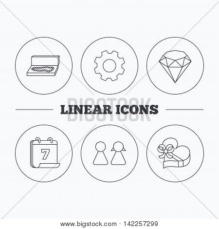 Brilliant, gift box and couple icons. Box with jewelry linear sign. Flat cogwheel and calendar symbols. Linear icons in circle buttons. Vector
