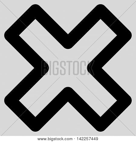 Delete X-Cross vector icon. Style is stroke flat icon symbol, black color, light gray background.