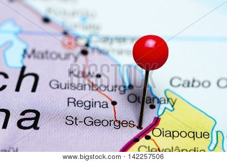St-Georges pinned on a map of French Guiana