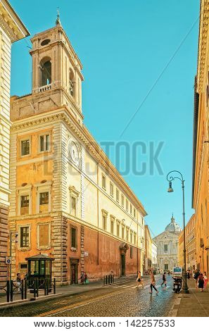 Rome, Italy - August 28, 2012: Sant Andrea della Valle Church in Corso del Rinascimento Street in the Old City of Rome in Italy. Specially toned in vintage style