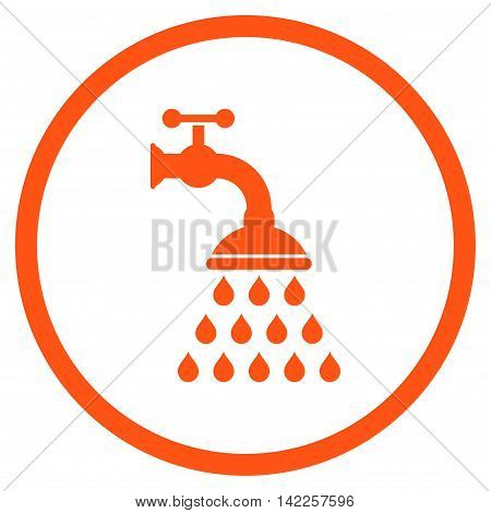 Shower Tap vector icon. Style is flat rounded iconic symbol, shower tap icon is drawn with orange color on a white background.