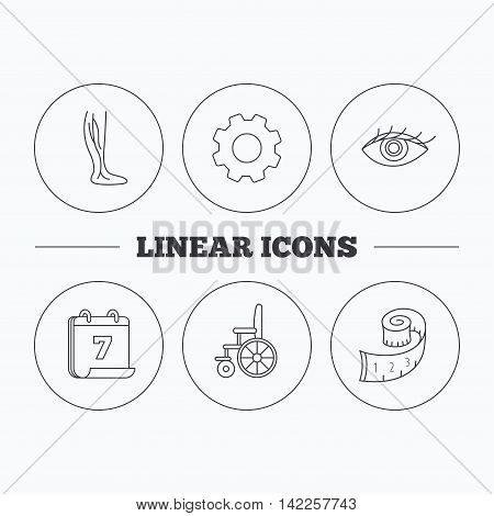 Vein varicose, wheelchair and weight loss icons. Eye linear sign. Flat cogwheel and calendar symbols. Linear icons in circle buttons. Vector