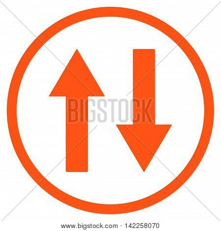 Vertical Flip Arrows vector icon. Style is flat rounded iconic symbol, vertical flip arrows icon is drawn with orange color on a white background.