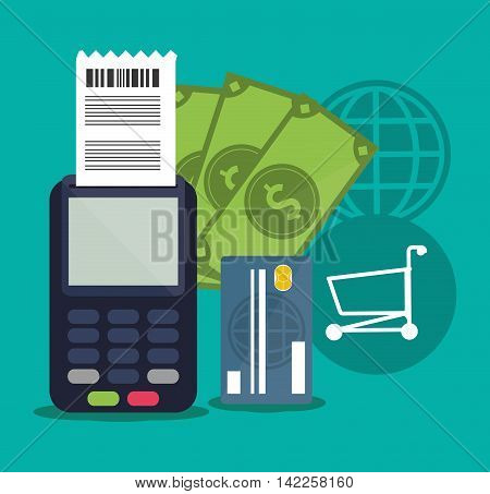 dataphone bills credit card shopping online ecommerce icon. Colorfull illustration. Vector graphic