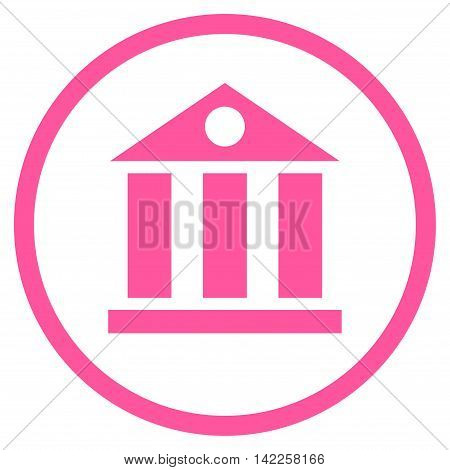 Bank Building vector icon. Style is flat rounded iconic symbol, bank building icon is drawn with pink color on a white background.