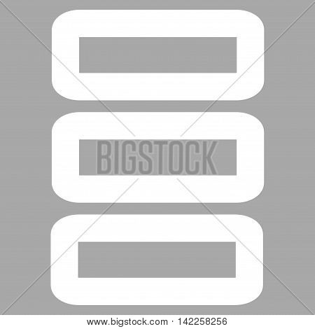 Database vector icon. Style is linear flat icon symbol, white color, silver background.