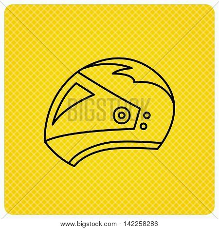 Motorcycle helmet icon. Biking sport sign. Linear icon on orange background. Vector