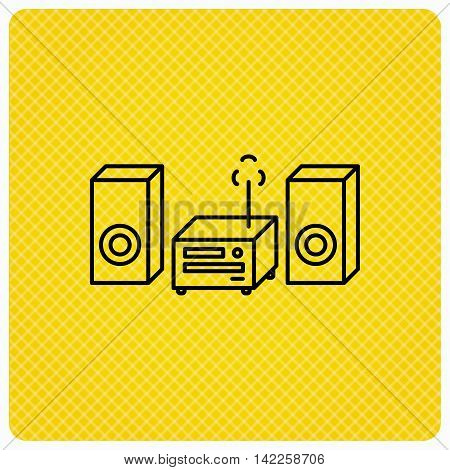 Music center icon. Stereo system sign. Linear icon on orange background. Vector
