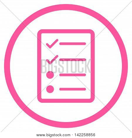 Checklist Page vector icon. Style is flat rounded iconic symbol, checklist page icon is drawn with pink color on a white background.