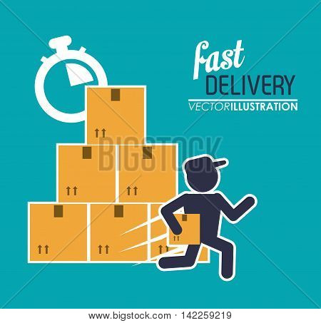 box package man chronometer fast delivery shipping icon. Colorfull illustration. Vector graphic