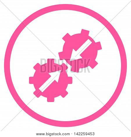 Gear Integration vector icon. Style is flat rounded iconic symbol, gear integration icon is drawn with pink color on a white background.