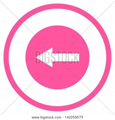Left Rounded Arrow vector icon. Style is flat rounded iconic symbol, left rounded arrow icon is drawn with pink color on a white background.