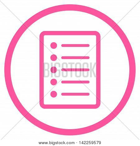 List Page vector icon. Style is flat rounded iconic symbol, list page icon is drawn with pink color on a white background.