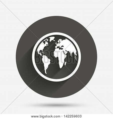 Globe sign icon. World map geography symbol. Circle flat button with shadow. Vector