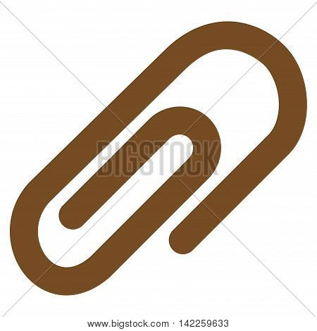 Paperclip vector icon. Style is contour flat icon symbol, brown color, white background.
