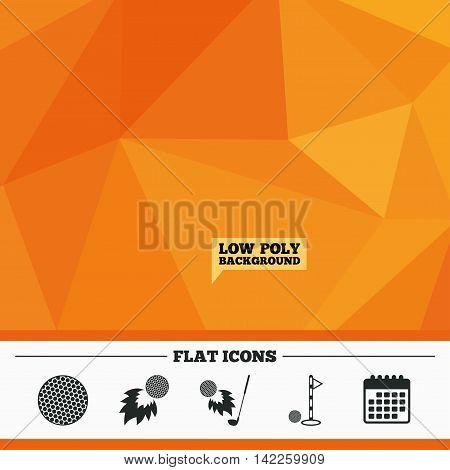 Triangular low poly orange background. Golf ball icons. Fireball with club sign. Luxury sport symbol. Calendar flat icon. Vector
