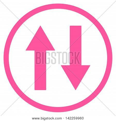 Vertical Flip Arrows vector icon. Style is flat rounded iconic symbol, vertical flip arrows icon is drawn with pink color on a white background.
