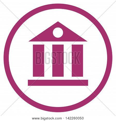 Bank Building vector icon. Style is flat rounded iconic symbol, bank building icon is drawn with purple color on a white background.