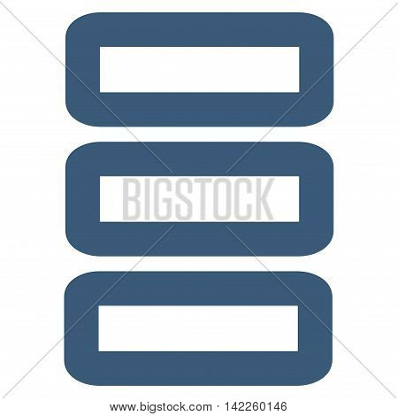 Database vector icon. Style is contour flat icon symbol, blue color, white background.