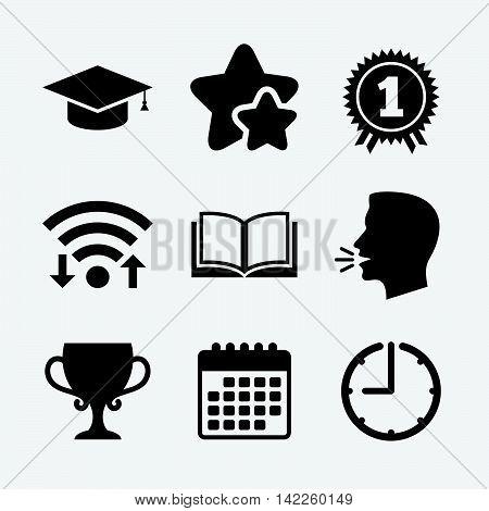 Graduation icons. Graduation student cap sign. Education book symbol. First place award. Winners cup. Wifi internet, favorite stars, calendar and clock. Talking head. Vector
